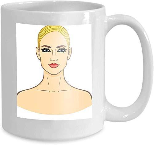 N\A Taza Café Taza de té Belleza Europea Retrato de animación Joven Mujer Blanca Retrato de animación de Belleza Europea Joven Blanca 110z