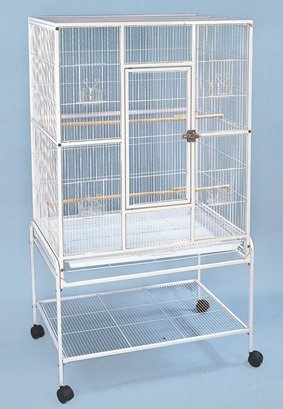 Large Wrought Iron Metal Bird Flight Cage Aviary With Removable Rolling Stand, White Vein - 32-Inch by 19-Inch by 64-Inch by Mcage