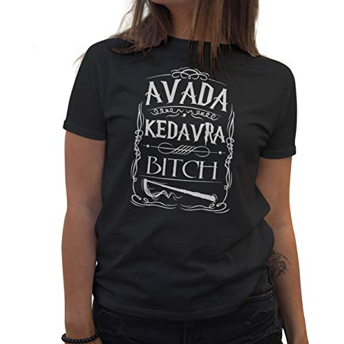 Lapi Boutique Avada Kedavra Bitch Camiseta de Mujer Negra Size XL