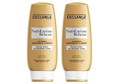 Dessange Après-Shampooing Démêlant Concentré de Nutrition - Cheveux Rêches, Très Desséchés ou Ternes - Nutri-Extrême Richesse - 200 ml - Lot de 2