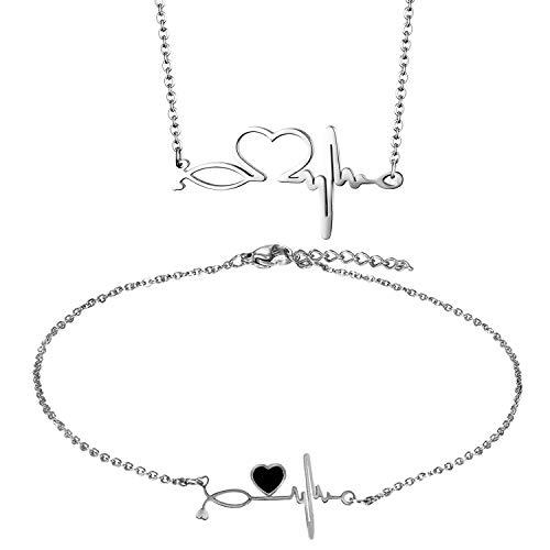 OIDEA Collar con Pulsera Corazón Acero Inoxidable ECG Latido de Corazón Juego de 2 Pcs Ajustable Tobillera Mujer Regalo Dia de Madre