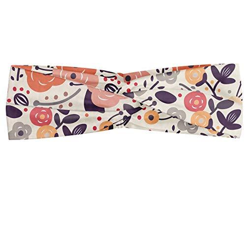 ABAKUHAUS Blume Halstuch Bandana Kopftuch, Vintage Pastellfarben von abstrakten Blumenbild mit Gekritzel-Blumen-Motive und Punkte, Elastisch und Angenehme alltags accessories, Mehrfarbig