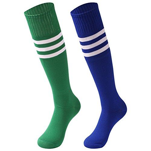 saounisi Unisex Schlauchsocken, gestreift, 2 Paar, kniehoch, Fußball, Volleyball, Baseball, Cheerleading, Team-Socken - - Large