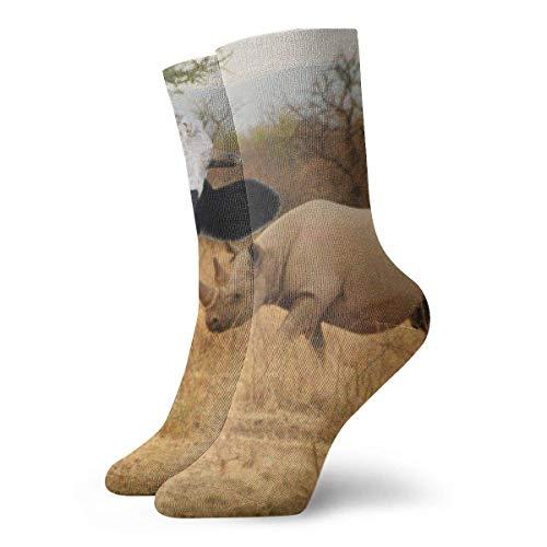 Kevin-Shop Chaussettes de Compression Rhino Femmes Chaussettes pour Hommes Chaussettes de Sport décontractées, Chaussettes Fines Cheville Courte pour l'extérieur, évacuation de l'humidité Sportive