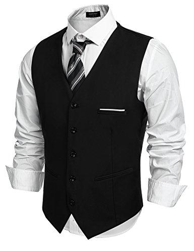 Chaleco de traje para hombre de Coofandy, corte ajustado, cuello en V, sin mangas, con 5 botones, para uso informal, clásico y básico