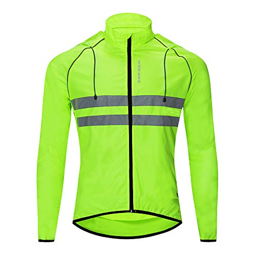 WOSAWE Giacche con cappuccio Uomo Ciclismo Leggero Impermeabile Moto Vento Cappotto Riflettente Corsa Alpinismo Abbigliamento Sportivo(Verde XL)