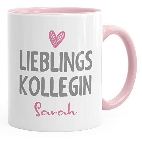 SpecialMe® personalisierte Kaffee-Tasse Lieblings-Kollegin mit Namen Namenstasse personalisierte Geschenke inner-rosa Keramik-Tasse