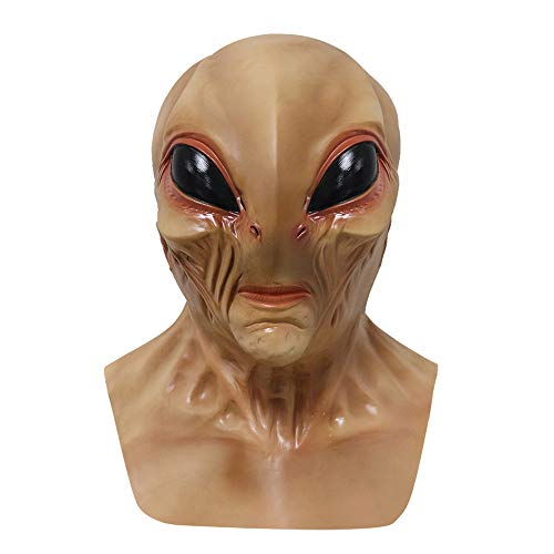Novelty Alien Mask with Creepy Eyes Costume Party Latex Full Head Mask Halloween UFO Cosplay Costume Outfit