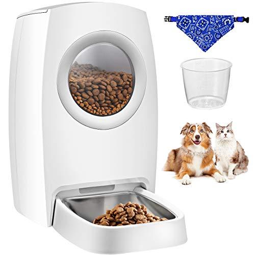 OMORC Futterautomat Katze 6L, Automatischer Futterspender Katze & Hunde mit Edelstahlnäpfe, Portionskontrolle und Tonaufzeichnung, Batterien und Netzteil-Unterstützung, Tasse + Lätzchen
