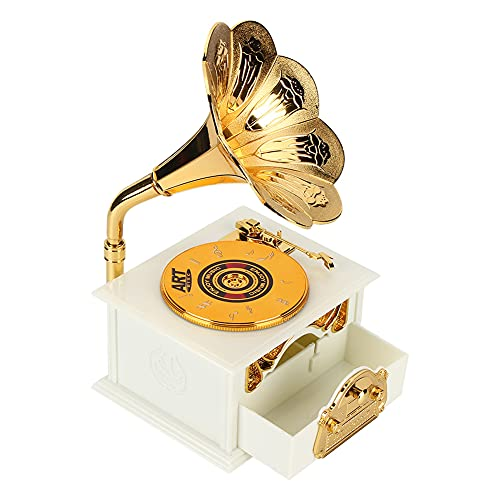 Caja de joyería Musical Clara, Caja de música con Caja de joyería de plástico 23 * 13 cm (Blanco)