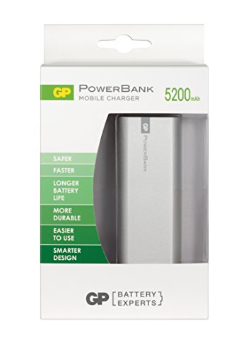 GP Batteries draagbare powerbank opladers (2600 mAh, 1,2 A uitgang en 1 A ingang, metalen behuizing) 5.000mAh zilver