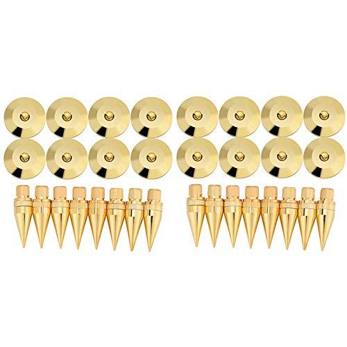 Cobeky 16 pares de 6 x 36 mm de cobre de aislamiento de estaca para altavoz + almohadilla de base para pies, aislamiento para altavoces
