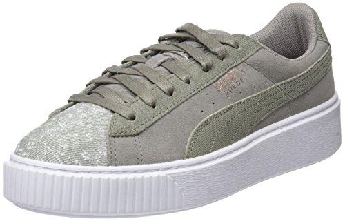 Puma Damen Suede Platform Pebble Sneaker, Grau (Rock Ridge White), 38 EU