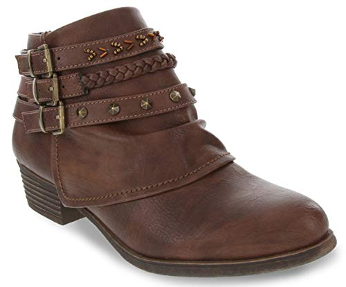 Rampage Women's Tabitha Triple Buckle Ankle Boot Ladies Side Zipper Bootie with Woven Wraparounds Studs and Overlay Chocolate Brown 6.5