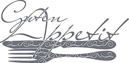 GRAZDesign Wandtattoo Wand-Spruch für Küche Guten Appetit Küchen-Aufkleber für Wände, Schränke, Fliesen, Möbel für Restaurant und Bars (116x57cm//071 grau)