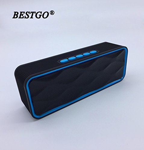 BESTGO S8 Wireless Bluetooth Speaker, Handsfree Calling, FM Radio and TF Card Slot, Outdoor Portable Stereo Speaker with HD Audio and Enhanced Bass, Built-in Dual Driver Speakerphone (Blue)