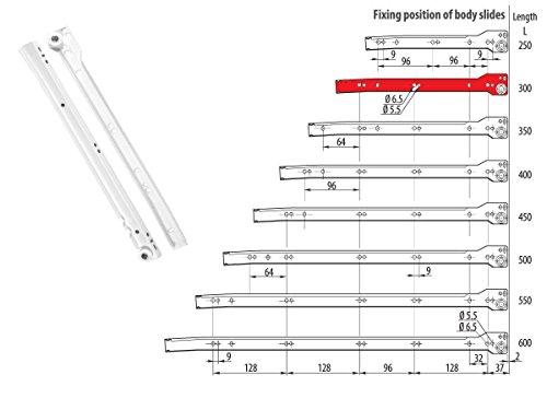 Euro Tische 1x Paar Schienen für Schubladen - vielseitig einsetzbare Schubladen Auszüge aus Stahl - Teilauszug, Verschiedene Größen (30 cm)