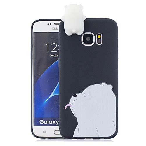 Keteen Cover per Samsung S7 Edge Silicone, 3D Orso Colore della Caramella TPU Custodia Galaxy S7 Edge, Anti Graffio Protettiva Case Anti Scivolo Magro Cover per Samsung Galaxy S7 Edge - Orso Bianco