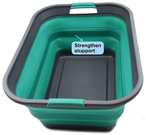 SAMMART Collapsible Plastic Wäschekorb - Faltbarer Pop-Up-Vorratsbehälter/Organizer - Tragbare Waschwanne - Platzsparender Korb/Korb (Grau/Türkisblau, 1)