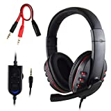 FNSHIP 3,5 mm Kabelgebundener Overhead-Stereo-Headset, Kopfhörer mit Mikrofon, Lautstärkeregler für Sony PS4, PC, Tablet, Laptop, Smartphone