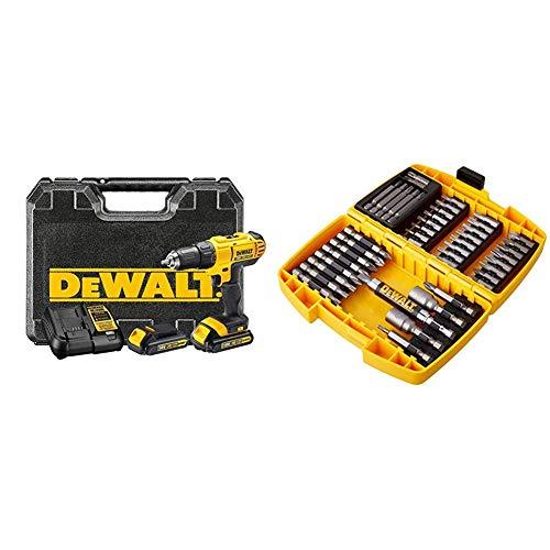 DeWalt DCD771C2-QW Taladro Atornillador XR 18V 13 mm 42Nm con 2 baterías Li-Ion 1, 0 W, 18 V, Negro y amarillo + DeWalt DT71572-QZ - Juego de accesorios de herramientas eléctricas