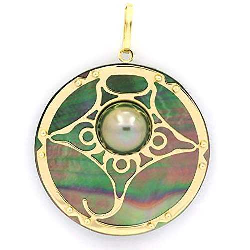 18K Gold + Mother-of-Pearl Pendant and 1 half Tahitian Pearl - Diameter = 27 mm - Manta Ray - Contractual Photos - Shipping with insurance and online tracking number.