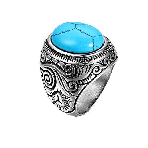 JewelryWe Mens Stainless Steel Ring, Classic Vintage, Blue Silver (Size U)