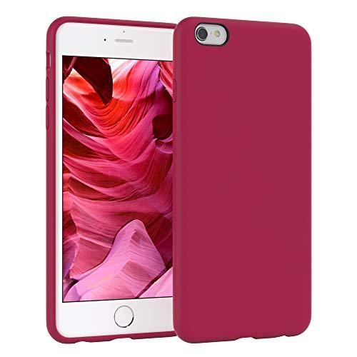EAZY CASE Premium Silikon Handyhülle kompatibel mit Apple iPhone 6 / 6S, Slimcover mit Kameraschutz und Innenfutter, Silikonhülle, Schutzhülle, Bumper, Handy Case, Hülle, Softcase, Beere