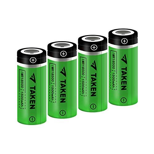 18500 Rechargeable Batteries, Taken IMR 18500 1600mAh 3.7V Li-ion Rechargeable Battery with Flat Top - 4 Pack