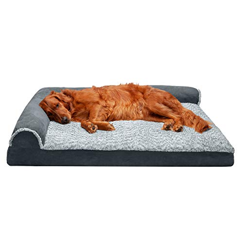 Furhaven Pet Dog Bed - Deluxe Memory Foam Two-Tone Plush and Suede L Shaped Chaise Lounge Living Room Corner Couch Pet Bed with Removable Cover for Dogs and Cats, Stone Gray, Jumbo