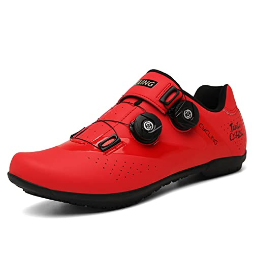 ASORT Zapatillas de Ciclismo de Carretera y de montaña para Hombre Zapatillas de Bicicleta Transpirables Antideslizantes para Mujer Ciclismo de Carretera en Interior,RedA-45EU