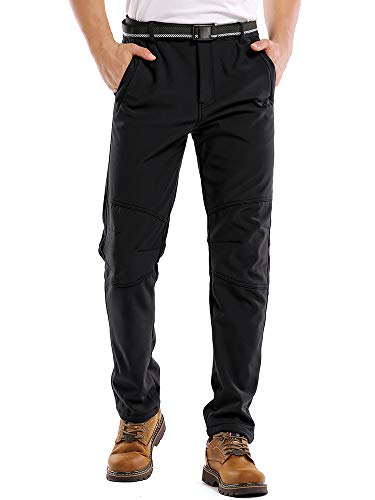 Jessie Kidden Waterproof Pants Mens, Fleece Lined Hiking Climbing Motorcycle Ski Snow Insulated Soft Shell Pants with Belt #5088-Black,34