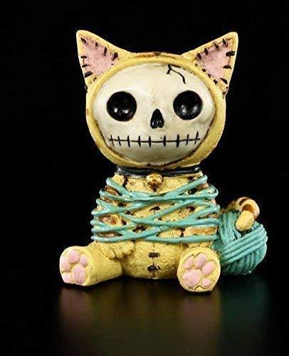 Furrybones Figur   Katze Mao-Mao mit Wollknäuel   inkl. Geschenkbox für Sammler   Lustige Deko Totenkopf Gesicht
