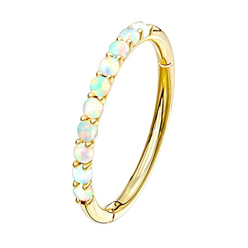 OUFER 14K Solid Gold Helix Tragus Earrings Opal Prong Set 16G Helix Inner Conch Tracking Nose Hoop Gold