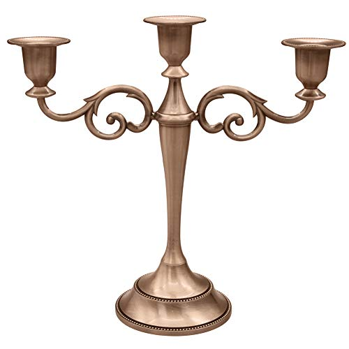 3-Candle Metal Candelabra,Copper