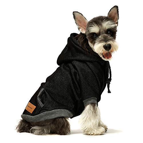 Fitwarm Casual Pet Clothes Dog Hoodies Puppy Pullover Cat Hooded Shirts Sweatshirts Black Small