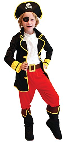 Cloudkids Disfraz de Capitán Pirata para Niños (L 7-9 años) Disfraz de Halloween Cosplay Traje de Pirata para los niños - Infantil Disfraces Incluye Sombrero Parche y Cinturón