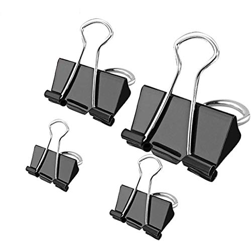 Bulldog Clips - 100 pcs Foldback Clips 4 Sizes Binder Clips Stationary Paper Clips 15mm 19mm 25mm 32mm