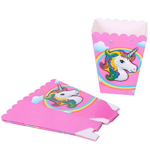 Bontand 10pcs Partido del Unicornio Suministros Caja de Palomitas de los niños cumpleaños de la decoración de la decoración de la Ducha del bebé
