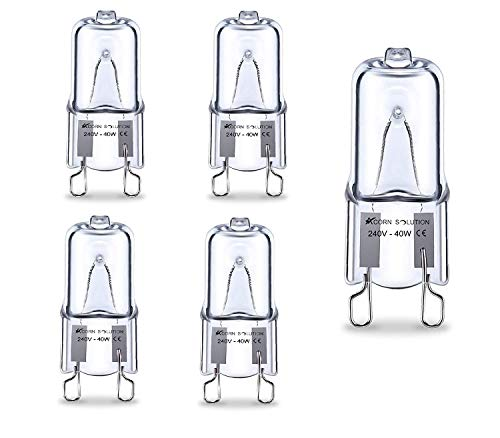 AcornSolution Halogen Stiftsockellampe Kapsel Lampe , transparente Leuchtdioden, 240 V, 40 W, G9, 5 Stück [Energieklasse E]