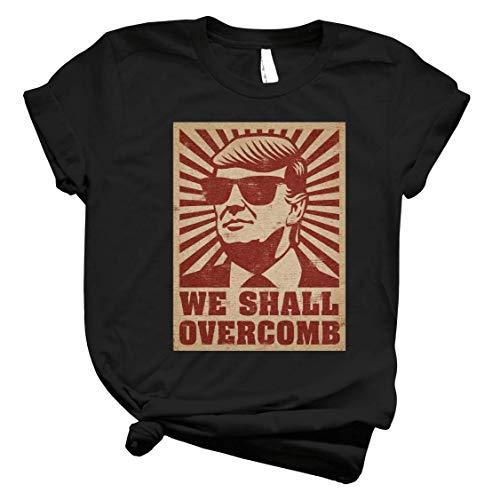CLARAESYMUTA Trump We Shall Overcomb T Shirt Sweatshirt Hoodie for Men Women Black