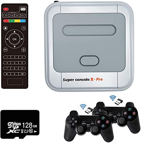 Omera Consola de videojuegos X-Pro, juego clásico retro construido en más de 41.000 con tarjeta SD de 128GB y 2 gamepads inalámbricos, consolas de juegos para TV 4K compatible con salida HD/AV