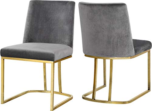 Meridian Furniture Heidi Collection Modern | Contemporary Velvet Upholstered Dining Chair with Polished Gold Metal Frame, Set of 2, 19' W x 23' D x 32' H, Grey