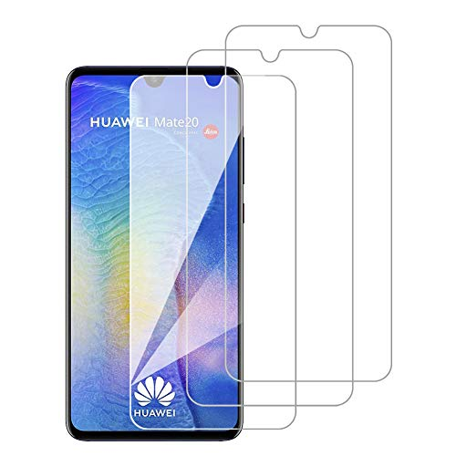 [3 Pack] Amonke Protector Pantalla para Huawei Mate 20 Cristal Templado, Plana pero Incompleta Cobertura, 9H Dureza, HD Transparente, Anti-Burbujas, Screen Protector para Huawei Mate 20