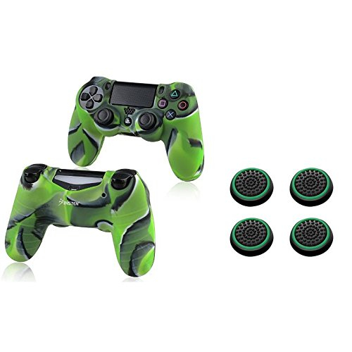 Insten [2 Pair / 4 Pcs] Silicone Analog Thumb Grip Stick Cover Cap (Black/Green) + Silicone Skin Protective Cover for PS4 PlayStation 4 Controller (Camouflage Green)