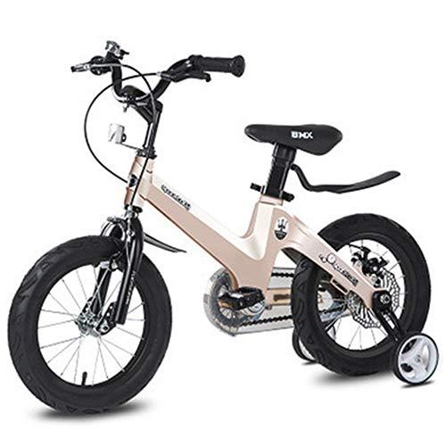 LHK Kinderfahrrad, geeignet für 2-6 Jahre 12 Zoll mit Stützrädern, mit Ständer, Kleinkinderfahrrad, Champagner