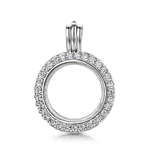 Amberta Medaglione in Argento Sterling 925 - Pendente a Forma di Cerchio con Zirconi per Donna - Ciondolo per Foto e Gemme Preziose