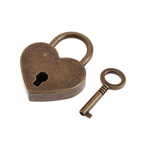 Exing Herzform Vintage Old Antiken Stil Mini Archaize Vorhängeschlösser Schlüsselschloss Mit key-8 Farbe, Metall, 3 × 4 cm (Bronze)