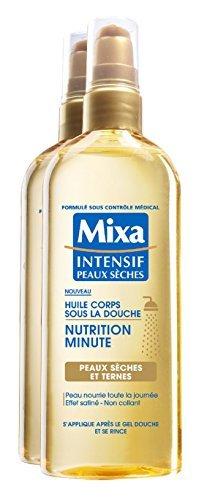 Mixa Intensif Peaux Sèches Huile Corps sous la Douche Nutrition Minute Peau Sèches et Ternes 150 ml - Lot de 2 by Mixa