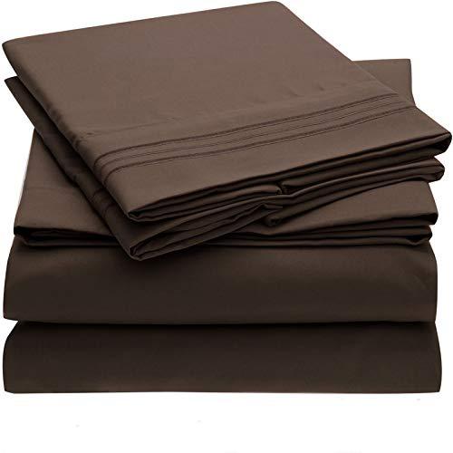 HAIBA Sábanas de cama extra profundas, 100% microfibra, ultra suaves, sedosas y resistentes a las arrugas, California King